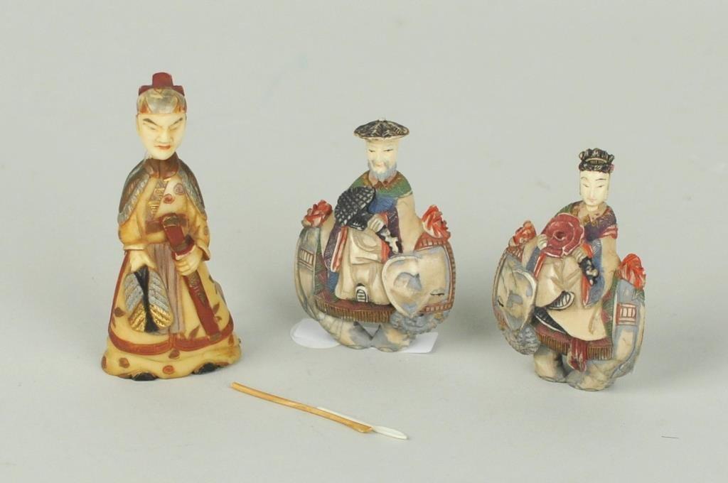 Three Asian Carved/Polychromed Bone Snuff Bottles