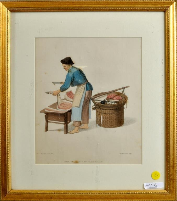 """English Hand Colored Lithograph """"Chinese Butcher"""""""