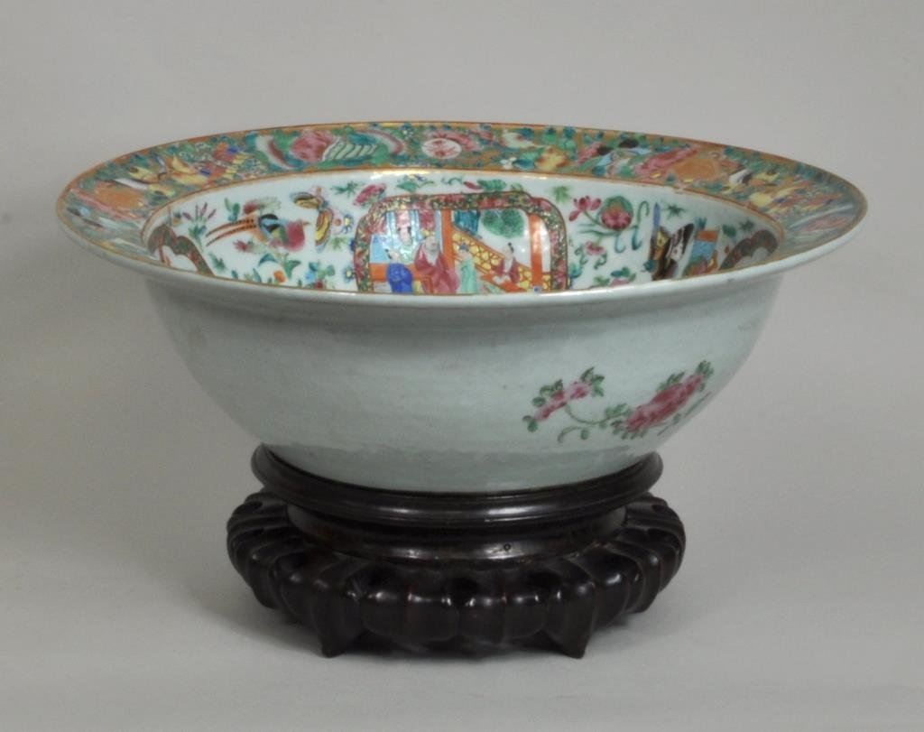 """Chinese 16"""" Rose Medallion Bowl/Wood Stand"""