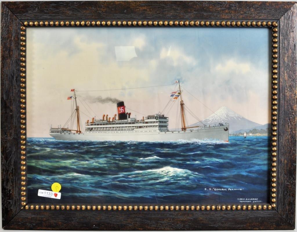 """H. Shimidzu, Japanese, """"SS General Pershing""""  W/C"""