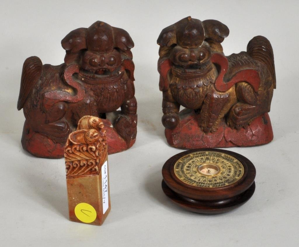 Chinese Bone/Ivory Compass, Seal, Pair Fu Lions