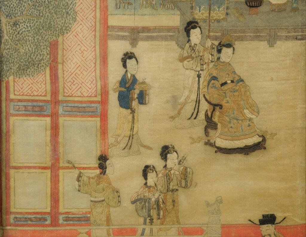 Pair Chinese Embroidered Silk Textiles - 3