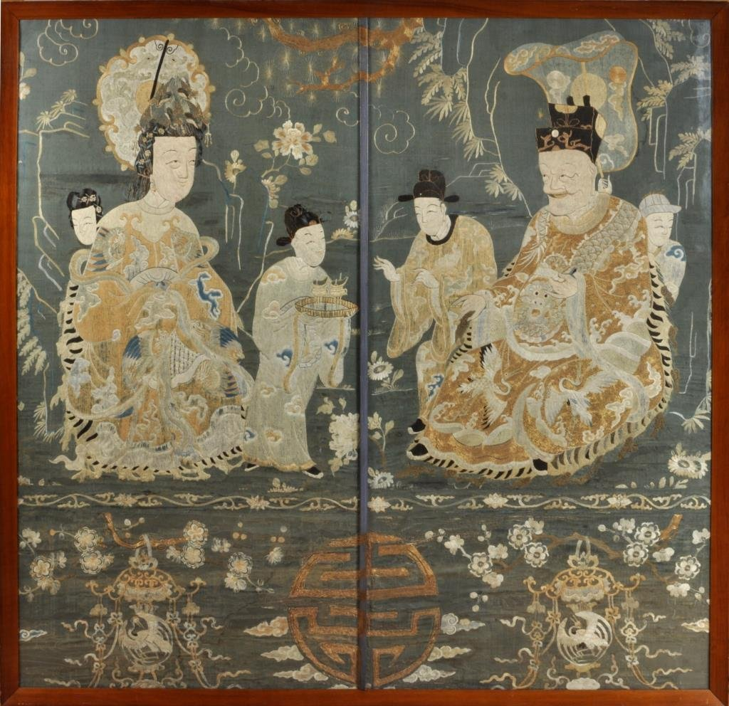 Important Chinese Framed Embroidered Panel