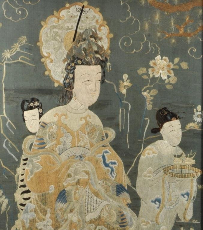 Important Chinese Framed Embroidered Panel - 2