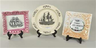 Two Sunderland Porcelain Wall Plaques Ship Plate