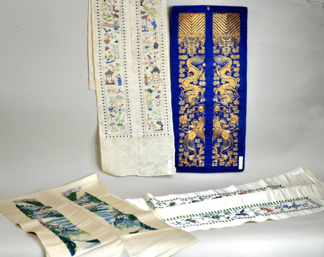 Eight Chinese Silk Embroidered Sleeve Bands