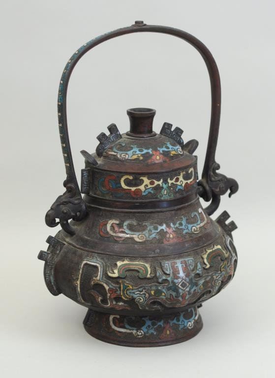 Chinese Bronze Cloisonne Archaistic  Wine Vessel