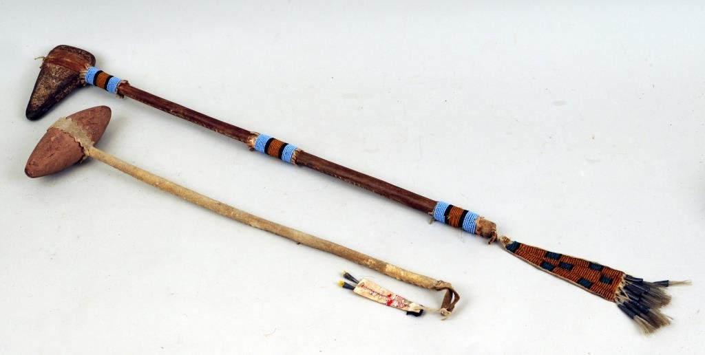 Two Native American Stone War Clubs