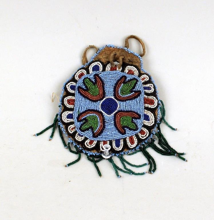 Small Plains Beaded Hide Pouch