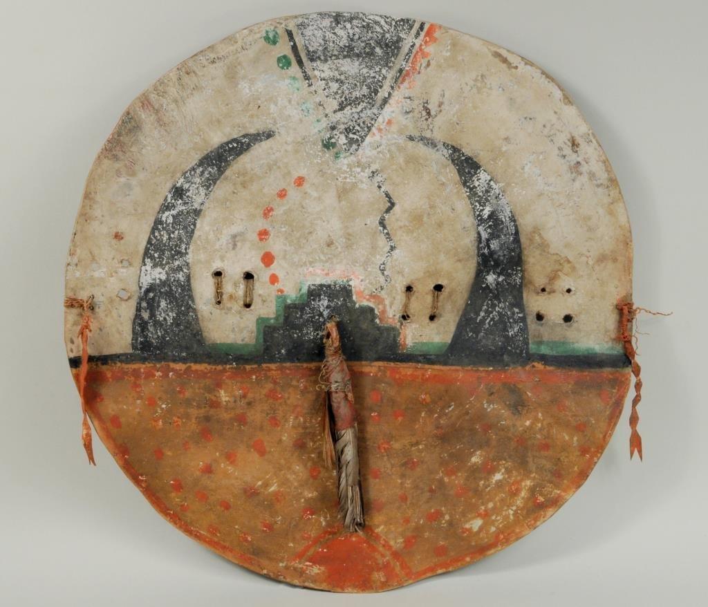 Pueblo Painted Buffalo Hide Shield