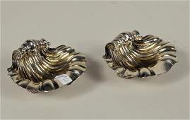 Pair of Georgian Silver Shell Form Salts