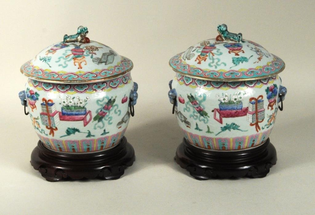 Pair of Chinese Porcelain Enameled Food Containers