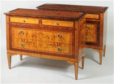 Pair Italian Neoclassical Style Marquetry Commodes