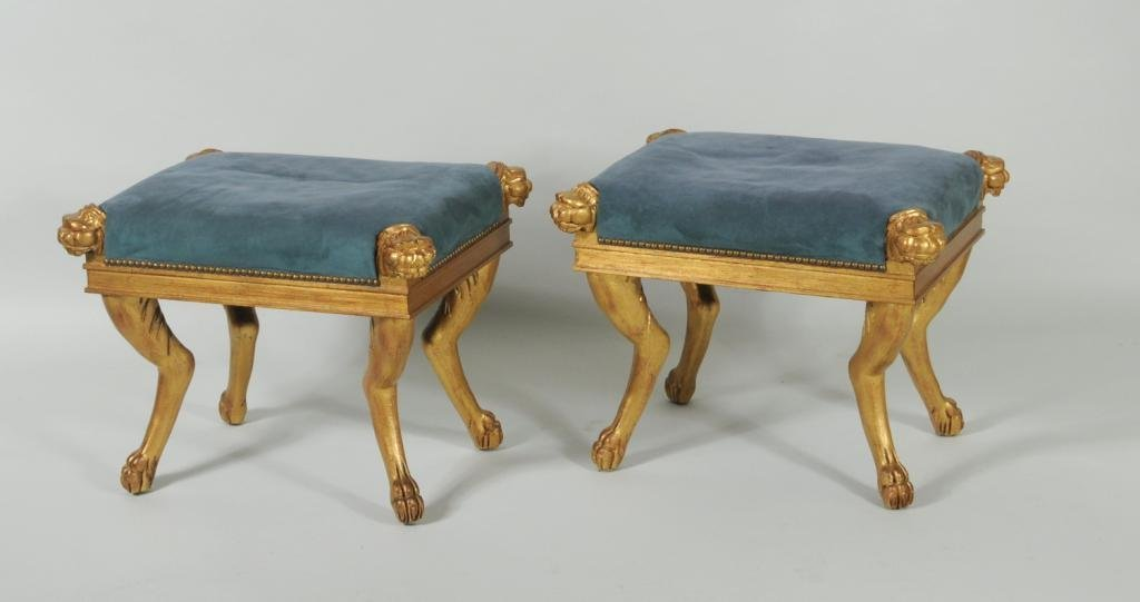 Pair of Egyptian Revival Giltwood Stools