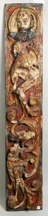 Polychrome & Relief Carved Grotesque Panel