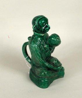Green Glazed Porcelain Monkey Form Ewer