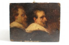 "Old Master School ""Two Gentlemen"" Oil On Panel"