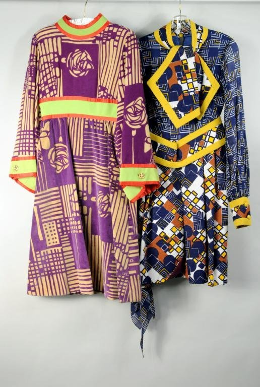 Two Ronald Amey Mixed Textile Long Sleeve Dresses