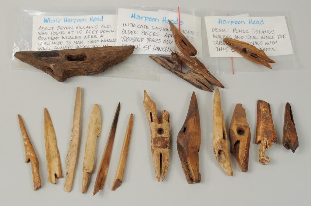 Group of Inuit Carved Fossilized Hunting Tools