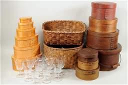 Thirteen Shaker Style Boxes Baskets  Glassware