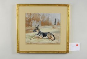 "R.W. Binks ""Portrait Of German Shepard"" Watercolor"