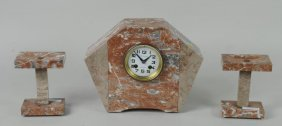 French Marble Art Deco Clock Garniture