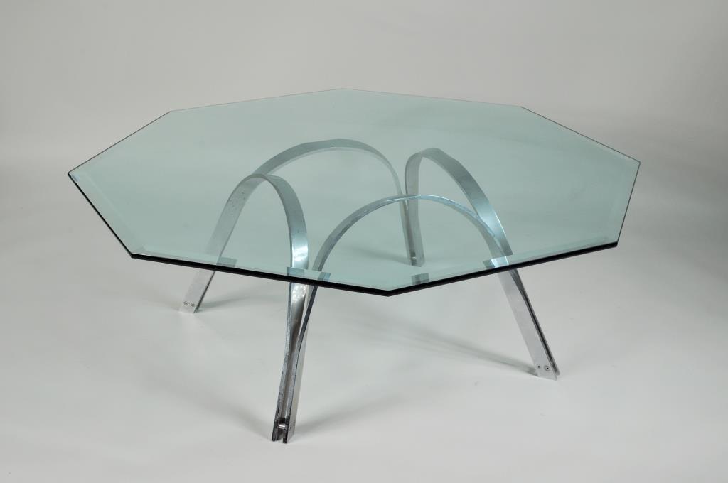 Mid-Century Modern Chrome/Glass Coffee Table