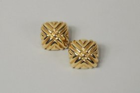 Pair 18K Gold Cross Form Earrings