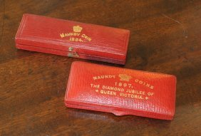 Two Leather Boxes Sterling Maundy Coins