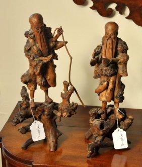 Two Asian Carved Burlwood Figures Of Elders