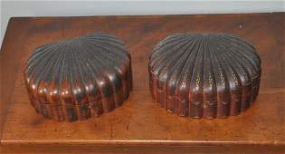 Pair Shell Form Carved Gilt Decorated Boxes