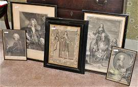 Group Five Continental Framed Engravings