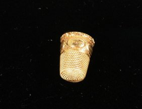 Victorian Gold Thimble, Monogrammed