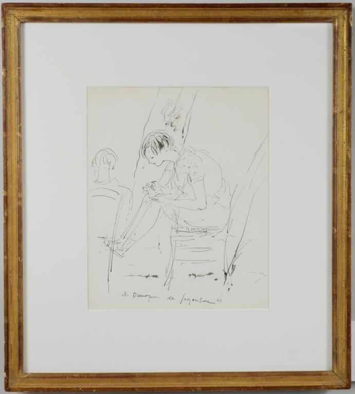 "Andre Dunoyer de Segonzac ""Young Girl In Chair"""