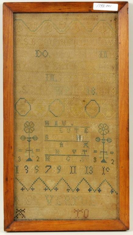 Early Needlework Sampler On Linen, 1732