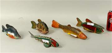 Group Five Folk Art Carved  Painted Fish Decoys