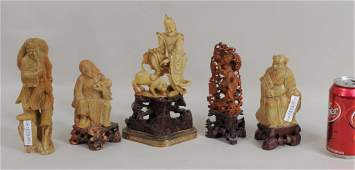 Five Chinese Figural Soapstone Carvings