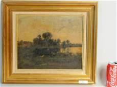 "Attributed Max Weyl ""Sunset Landscape Scene"" O/B"