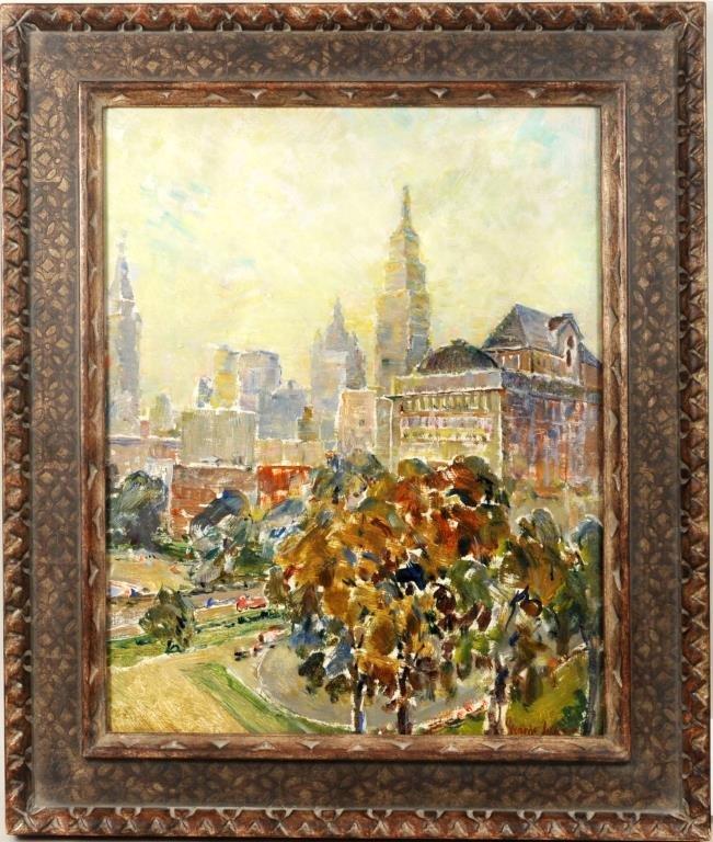 """George Benjamin Luks """"Gramercy Park 1932"""" O/C"""