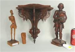 Carved Wood Bracket, Three European Figures