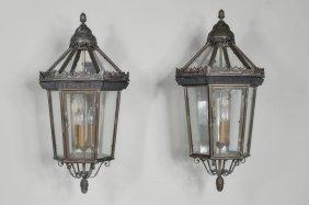 Pair Copper/Brass Exterior Lantern Sconces