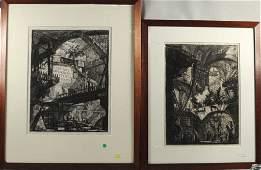 Giovanni B. Piranesi, Two Framed Etchings