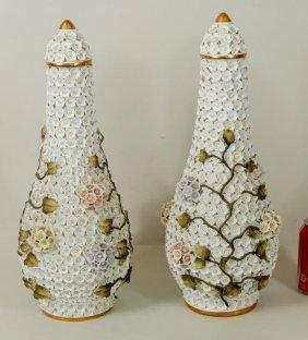 Pair German Blooming Porcelain Lidded Urns