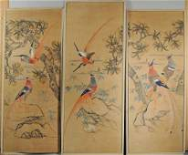 Group Three Framed Chinese Wallpaper Panels