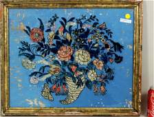 Folk Art Reverse Painted Glass Tinfoil Picture