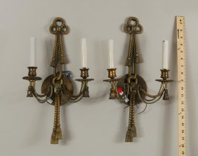 Pair Brass & Metal Neoclassical Sconces