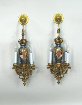 Pair Art Nouveau Four Light Sconces