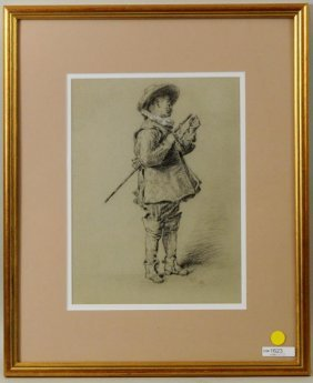 """Reynolds Beal """"cavalier"""" Charcoal Drawing"""