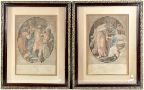Pair English Hand Colored Engravings