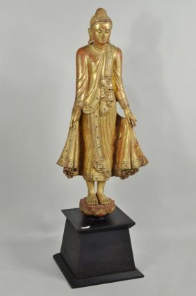 """Thai Gilt, Lacquered & """"jeweled"""" Buddha On Stand"""